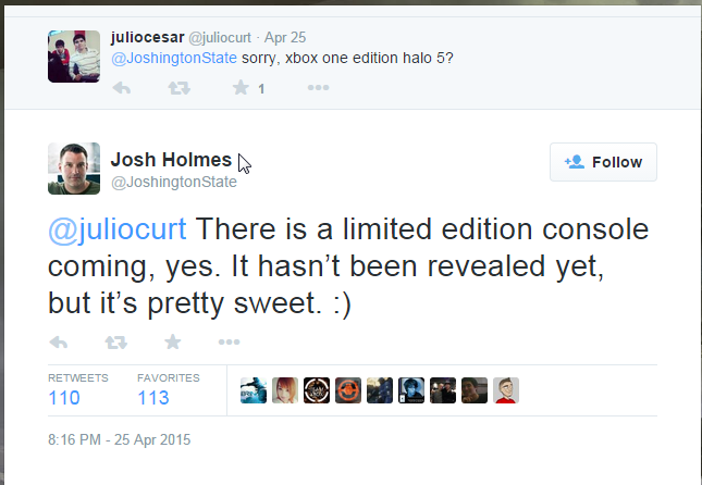 2015-04-27 12_30_00-Josh Holmes on Twitter_ _@juliocurt There is a limited edition console coming, y